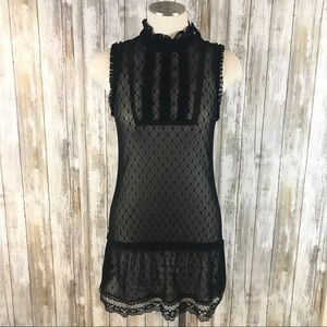[Free People] High neck, stretchy lace dress Sz.S
